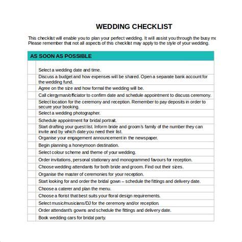 wedding checklist word sle wedding checklist 12 documents in pdf word