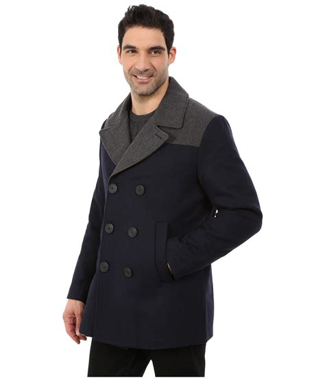 peacoat color color block wool peacoat zappos free
