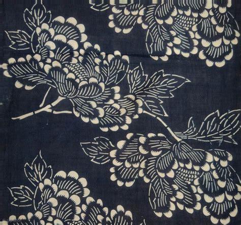 japanese indigo pattern asa katazome textile panel japan meiji circa 1890