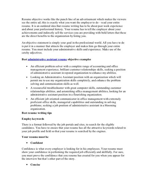 the importances of writing a good objective statement for your cv