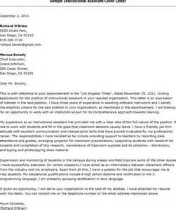 cover letter for teachers aide examples special