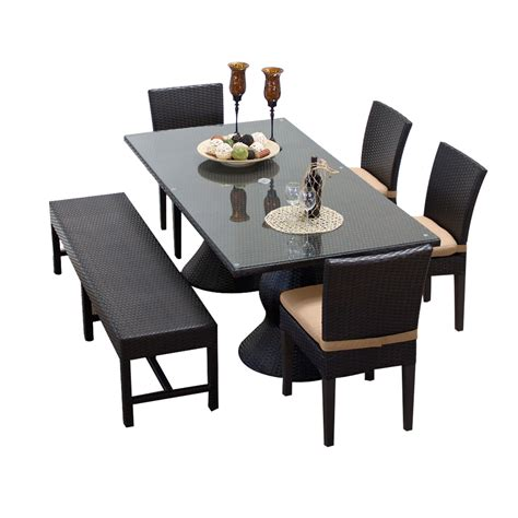 outdoor dining table bench seating tk classics napa rectangular outdoor patio dining table