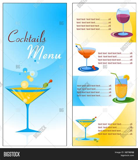 menu design eps file a cocktail menu template vector file stock vector