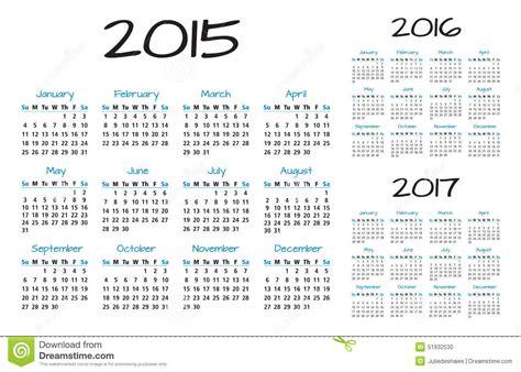 Kalender Englisch Calendar 2015 2016 2017 Vector Stock Vector