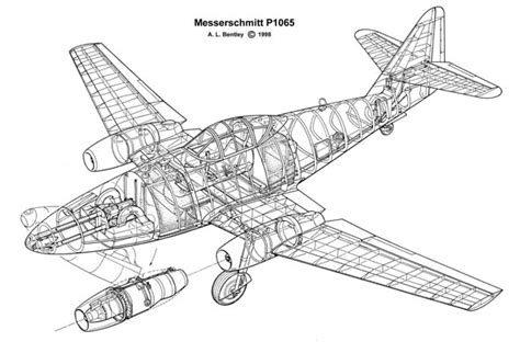 e plans com a l bentley drawings messerschmitt p1065
