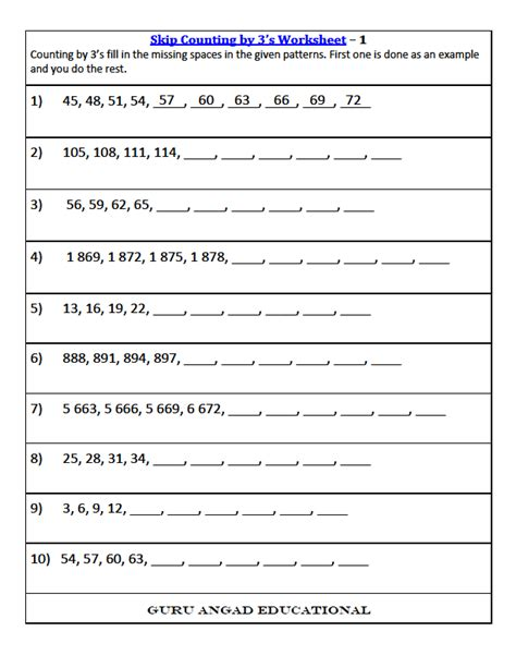 Skip Counting Worksheets For Second Grade by 3rd Grade Math Skip Counting Worksheets