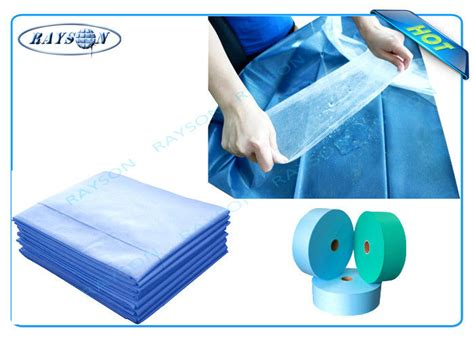 Pp Bedsheet Sprei Chequer Blue blue or green waterproof pp non woven fabric for surgical mask or disposable bedsheet
