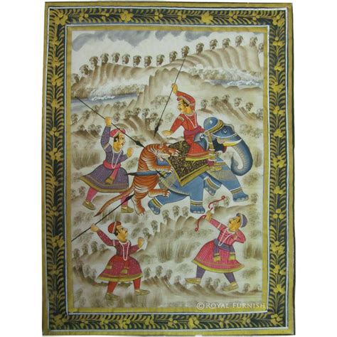 Vintage British Home Decor Rajasthani Mughal Miniature Painting Features Animals