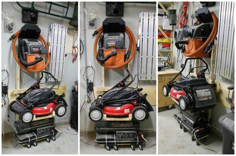 Push Mower Garage Storage Ideas Turtles And Tails Storage Solutions Fold Away Shelving