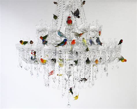 Bird Chandelier Lighting Sebastian Errazuriz Perches Taxidermied Birds On A Chandelier