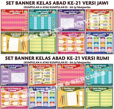 design banner kelas set banner kelas abad 21 versi jawi dan rumi