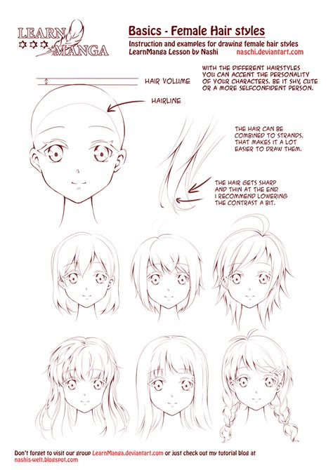 anime hairstyles female tutorial learn manga female hair styles by naschi on deviantart