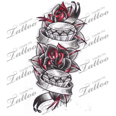 tattoo design marketplace marketplace tattoo roses diamonds tattoo with banners