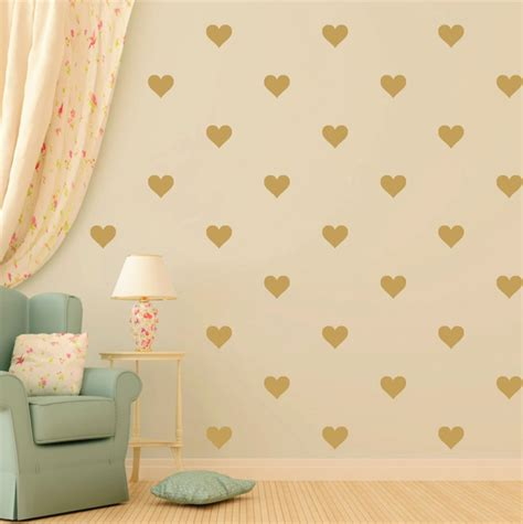 heart wall stickers for bedrooms 48pcs gold heart shape vinyl wall decal removable nursery love hearts glue stickers