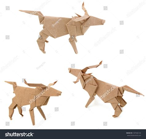 origami water animals origami water buffalo animal stock photo 187936142