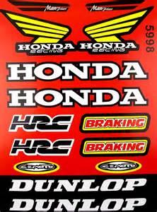 Honda Racing Stickers Honda Racing Hrc Dunlop Motorcycle Sticker Sheet Graphics