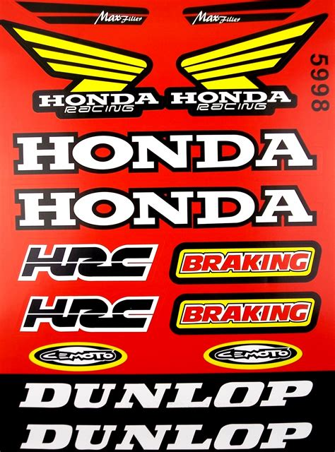 Motorrad Renn Aufkleber by Honda Racing Hrc Dunlop Motorcycle Sticker Sheet Graphics