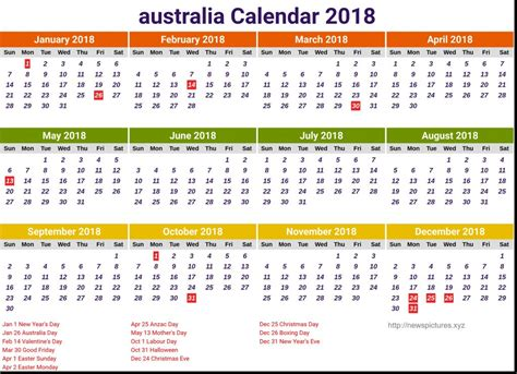 printable calendar 2018 australia australian calendar 2018 printable calendar 2018