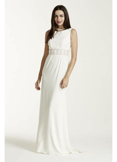 wedding dress in new jersey jersey sheath dress with illusion waist and back david s bridal
