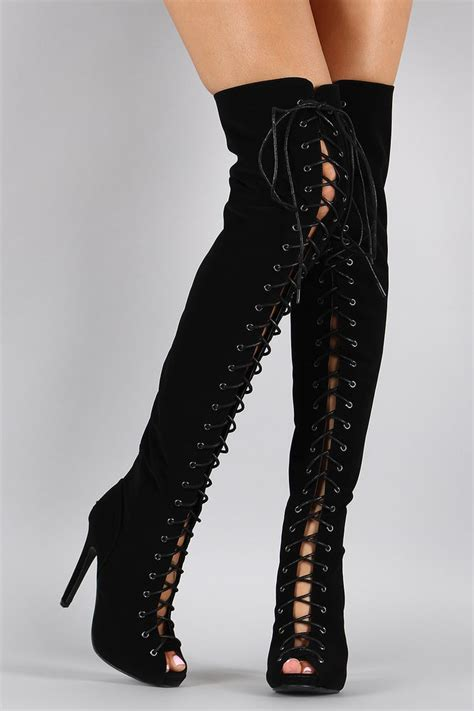 black thigh high lace up peep toe the knee boots w