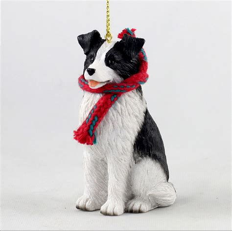 border collie dog christmas ornament scarf figurine ebay