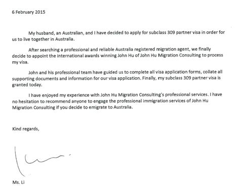 Immigration Reference Letter Australia 09 2 2015 Congratulations To Ms Li For Australian Partner Provisional Visa 309 Grant