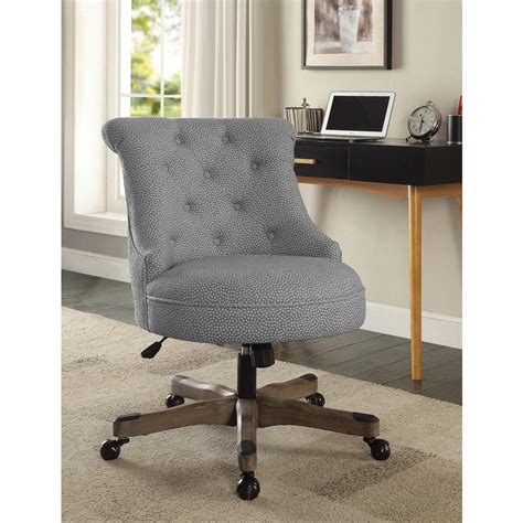 office chair upholstery fabric linon home decor sinclair light gray and white dots