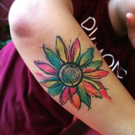 colour flower tattoo designs watercolor sunflower design designs
