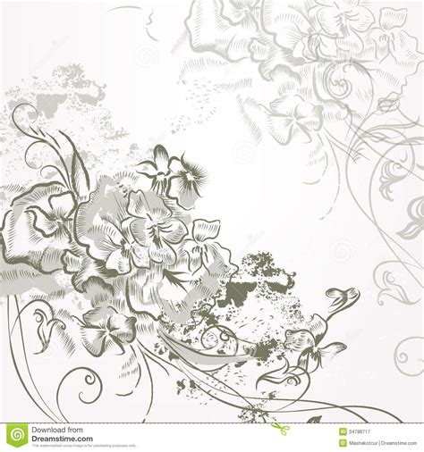 Fashion Elegant Background With Hand Drawn Flowers Royalty | fashion elegant background with hand drawn flowers royalty