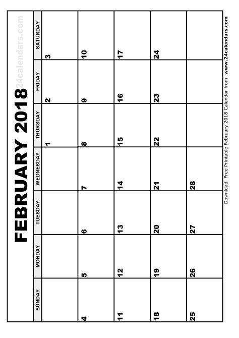 printable calendar 2018 january february february 2018 calendar printable