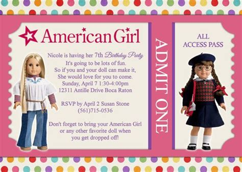 american birthday invitations american dolls birthday invitations drevio invitations design
