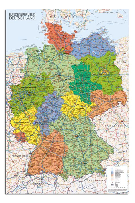 germany map 1980 germany map wall chart 24 x 36 inch poster new laminated