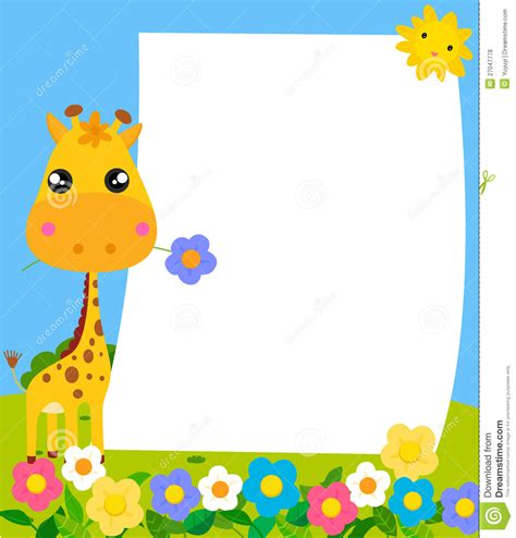 Gamis Teddy Anak Uk3 11 giraffe and frame stock vector illustration