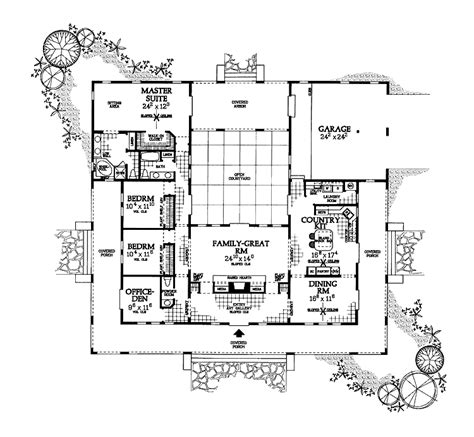 Floor Plans With Courtyard by U Shaped House Plan With Courtyard Floor Plans Pinterest