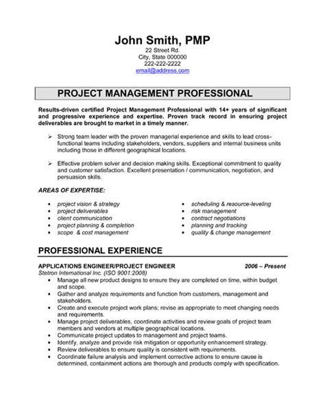 engineering template resume sles project engineer