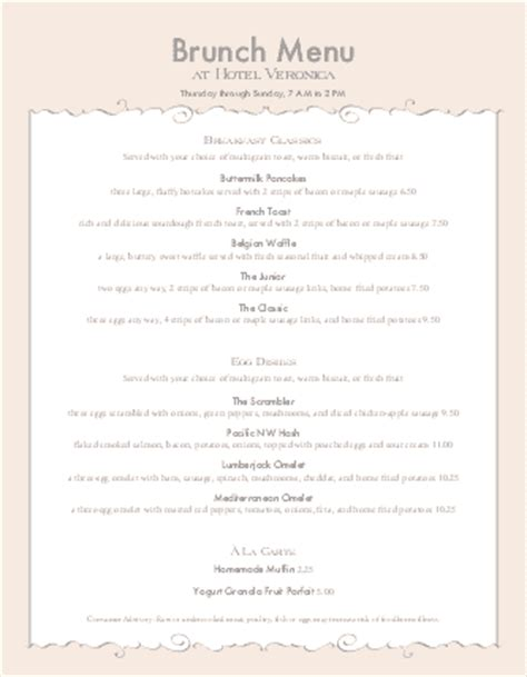 special event menu letter breakfast menus