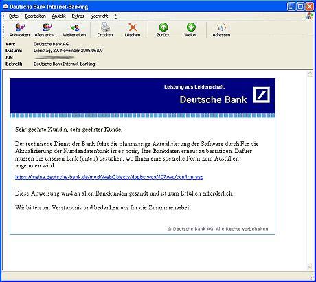mail deutsche bank beliebt bei phishern gro 223 e bankh 228 user trojaner info de
