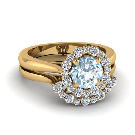 aquamarine halo engagement ring curved band in 14k