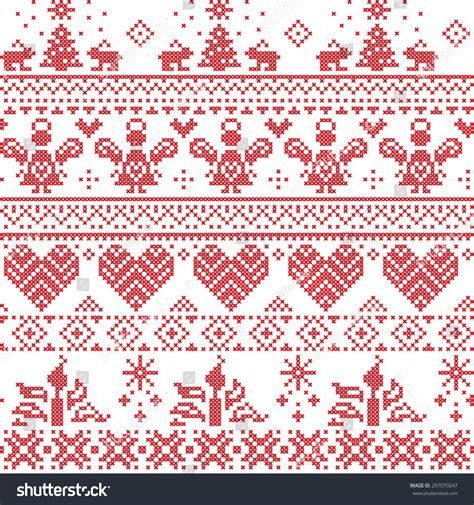 nordic christmas pattern vector scandinavian nordic christmas seamless cross stitch stock