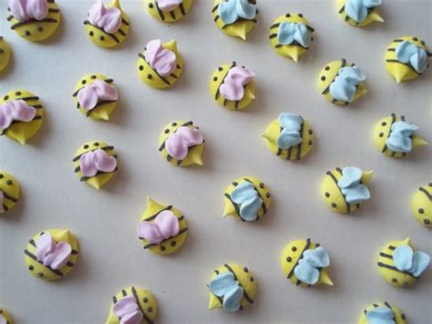Handmade Cupcake Toppers - royal icing baby shower bees handmade cupcake toppers