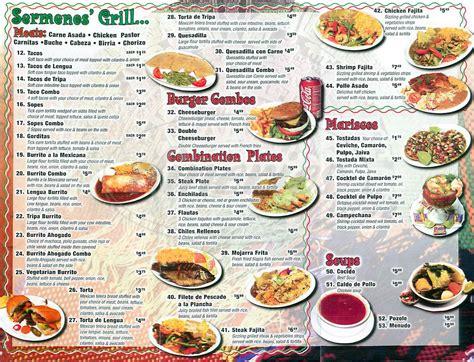 restaurant menu sermenos restaurant menu los angeles dineries