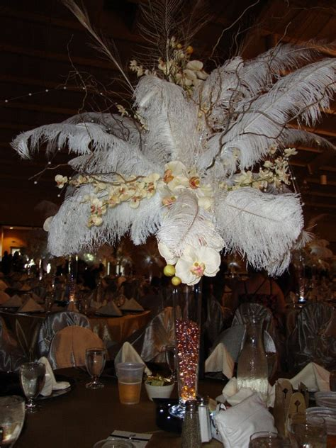 Feather Orchid Centerpieces Flowers And Centerpieces Centerpieces With Feathers And Flowers