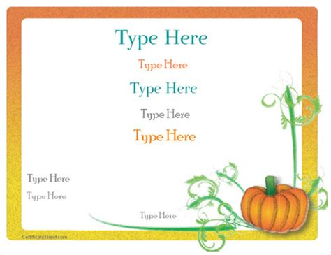 thanksgiving gift card template blank certificates fall thanksgiving certificate