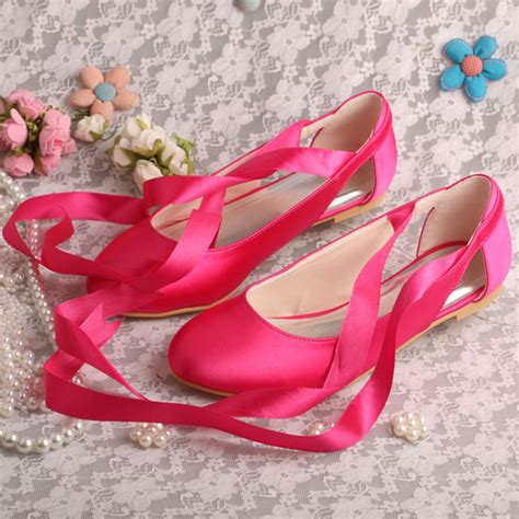 Big Ribbon Shoes Murah Meriah 20 colors quality fuchsia satin ballet flats bridal wedding shoes ribbon womens big size