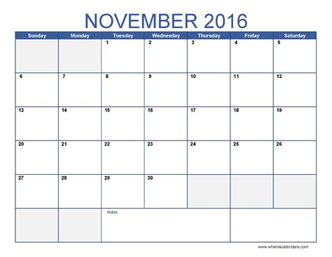 november 2016 calendar template monthly calendar 2016