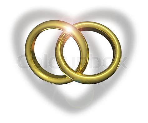 golden wedding rings linked together stock photo colourbox