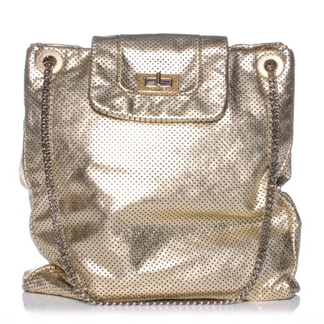 Chanel Metallic Crackled Bag by Chanel Metallic Crackled Calfskin Perforated Drill