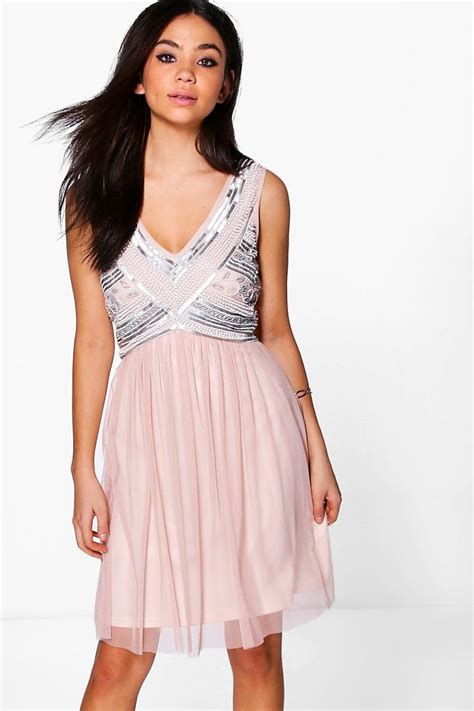 beaded swing dress boutique aimee beaded top swing dress at boohoo