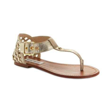 gold sandals steve madden steve madden sutttle flat sandals in gold dusty gold lyst