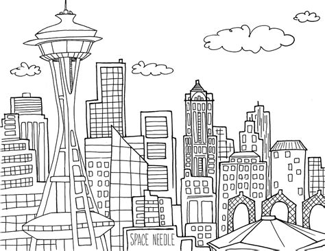 seattle space needle coloring pages printable seattle
